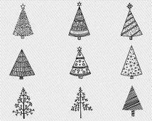 Mano disegnata albero di Natale Clipart. Albero di Natale digitale.  Illustrazione di albero di Natale. 217
