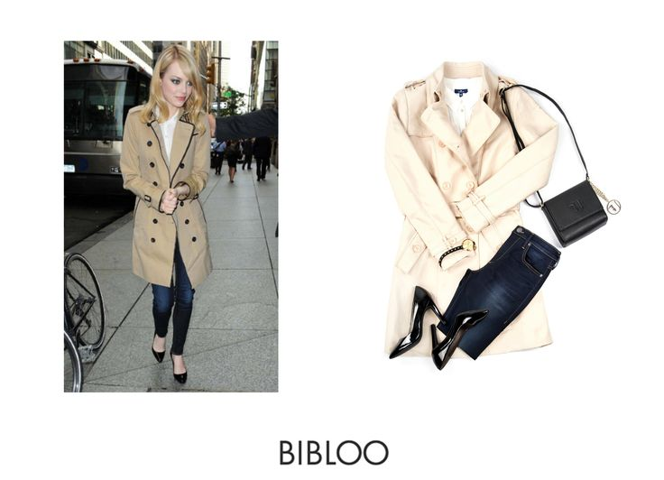 Timeless chick with Emma Stone. Beige trench is pure classic.