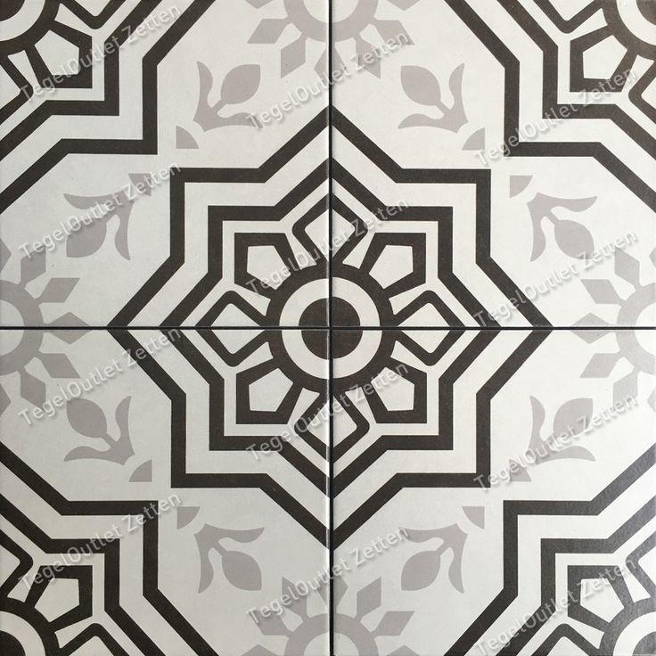 Vloertegel Tiffani 20x20cm black - Prachtige vintage Portugese Marokkaanse look tegels voor in uw badkamer - toilet of keuken. Ook in de hal is dit een mooie verrijking