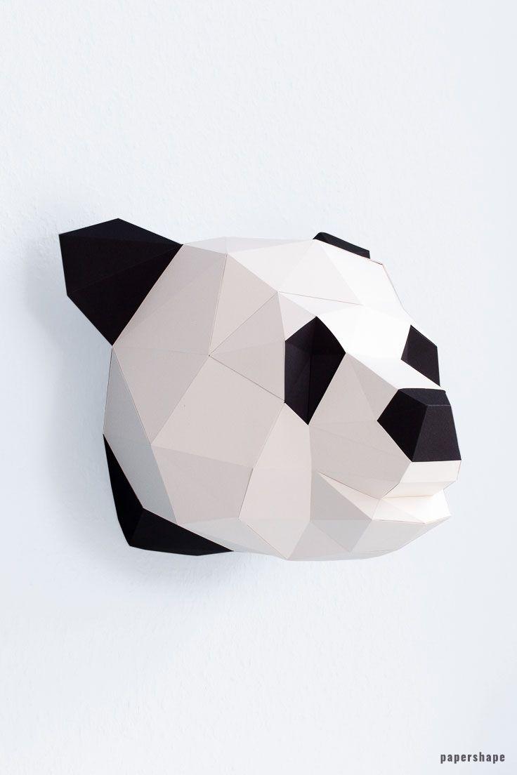 Panda Papiertier 3d Origami Anleitung Tiere Papierskulptur Basteln Mit Papier Origami