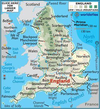 Map of England - English Maps Information History, London, Great Britain Map - World Atlas