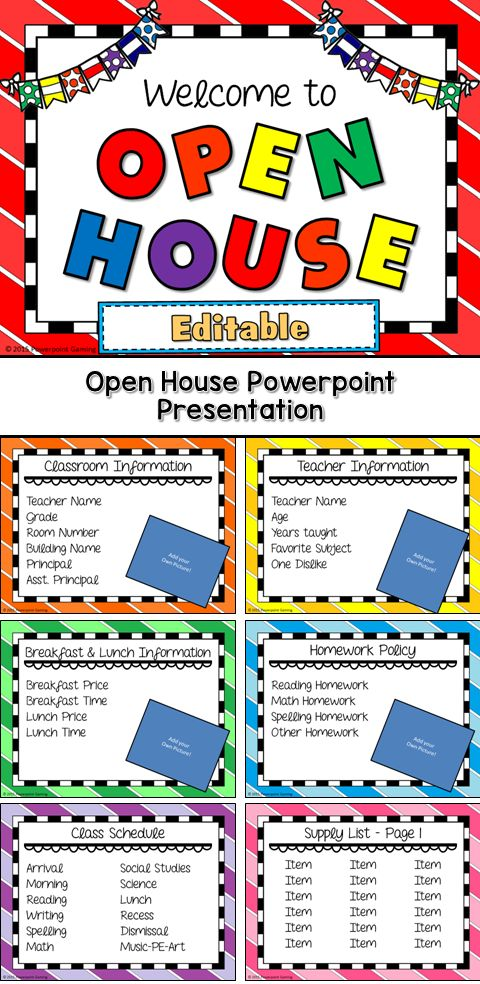 Show students and parents what your school or classroom is all about with this wonderful information display. Each slide display information about various topics in your classroom ranging from teacher information and behavior plans to homework policy and snack time information. Each slide is editable so you can add your own clip art, backgrounds, and photos.  Perfect for a Open House or the first day of school. Great for individual practice on the iPad! Extra licenses are $1.
