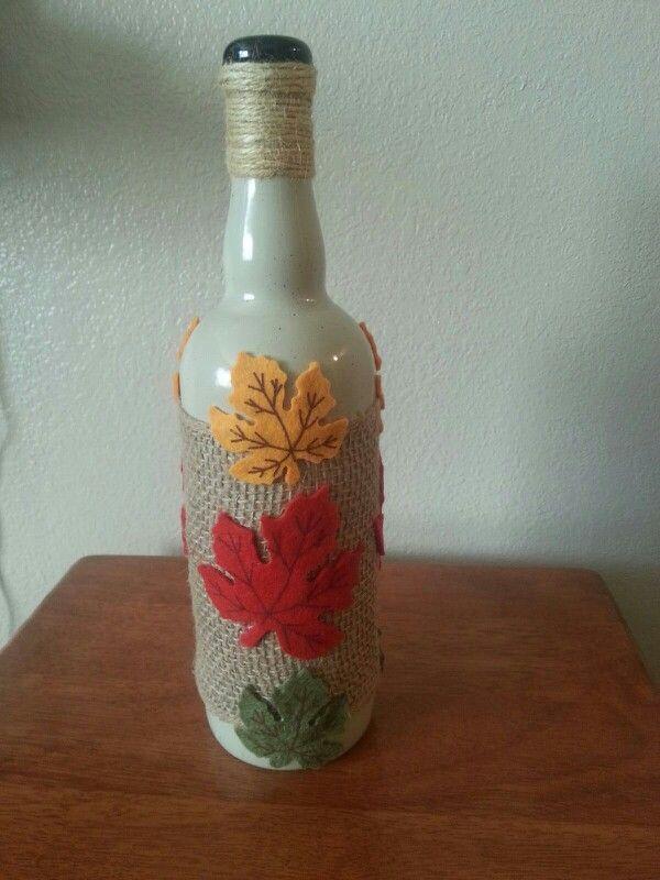 Autumn Leaves Wine Bottle