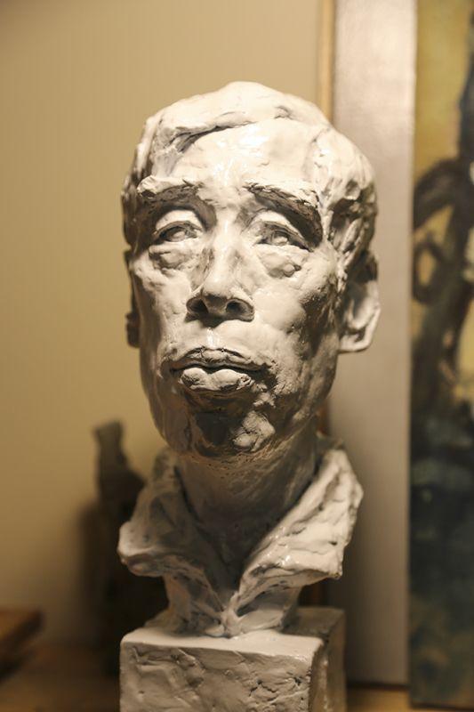 Old Man Portrait, Ben Li, 2012, Plaster, 5inW x16inH x 9inD