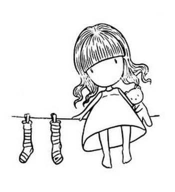 Girl with socks on line