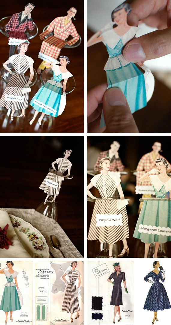 Vintage Paper Doll place cards.... this would be perfect for a Mad Men party :)