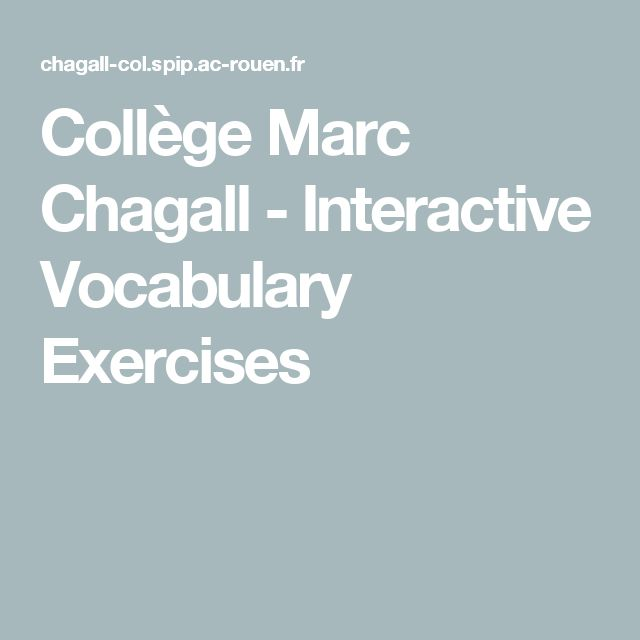 Collège Marc Chagall - Interactive Vocabulary Exercises