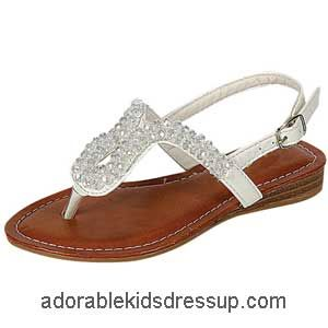These white girls flat dress sandals have the look of patent ...