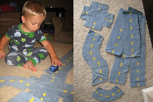 """""""Roads"""" made out of old jeans.  I like that the pieces are lightweight and portable, but sturdy enough.  Also, if a piece is ruined, you can easily replace it.  I see a grandbaby gift in my future."""