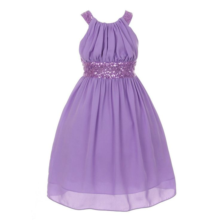 "A gorgeous dress for your girl from Cinderella Couture brings out a whimsical flair. Dazzling sleeveless lavender chiffon dress has a sequin embellishment, a round elegant neckline and a pleated design. It features a ""X"" back with invisible zipper and bac"