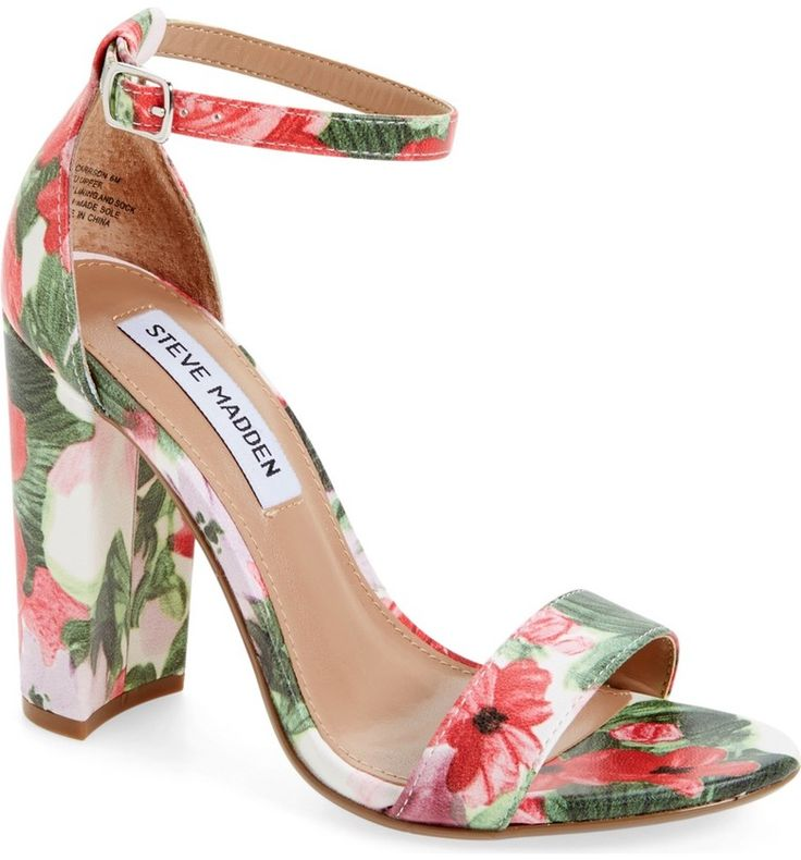 NORDSTROM  Steve Madden 'Carrson'Sandal (Women)  Modern and minimalist, an essential ankle-strap sandal set on a chunky heel serves as a versatile go-to style.  Still look for short heels height