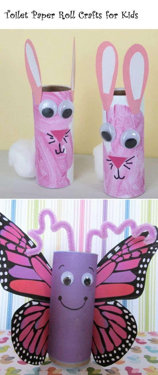 Toilet Paper Roll Crafts for Kids - DIY Ideas 4 Home (Jen: This skeeves me, so I would cut an empty paper towel roll in half instead, but the bunnies are uber cute.)