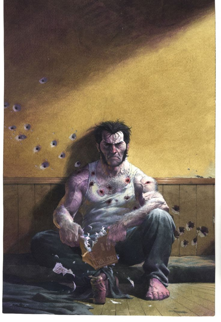 """In this pic Wolverine has just killed a bunch of bikers and is sitting with his thoughts. He is probably thinking """"Beer"""" - Wolverine by Esad Ribic"""
