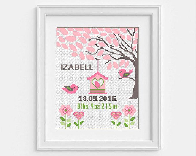 Baby announcement Cross stitch baby Tree Birds cross stitch