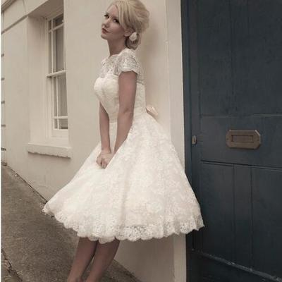 A208 stock a line scoop neckline cap sleeve vintage tea length lace short wedding dresses 2016 bridal dress,tea length cap sleeve short wedding bridal