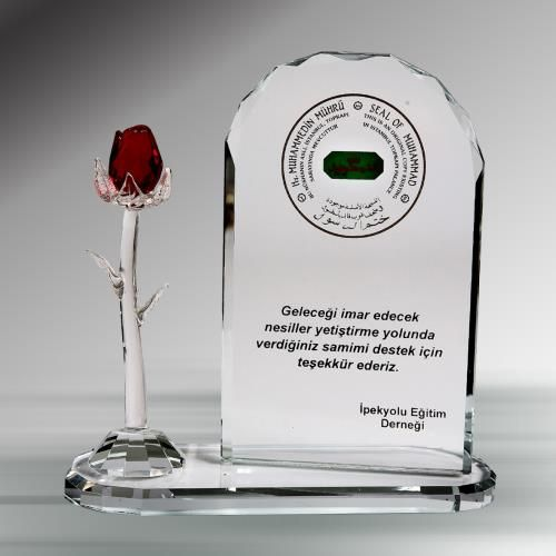 Gül Kristal Plaket - Plaket, Şilt - Durbuldum.com - kristaller