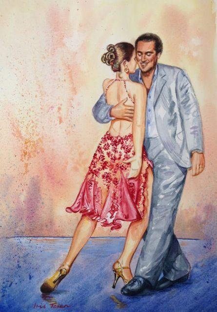 Tango - Connection Artist Iris Toren Size: 29 x 41 cm (unframed) Medium: Watercolour