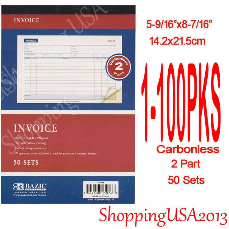 """50 Sets Per book. Features of Invoice Book Large Invoice Book. Invoice Books: 5-9/16"""" X 8-7/16"""" (142X215mm). Carbonless is easy to use. 