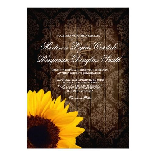 vintage damask sunflower rustic wedding invitation - Sams Club Wedding Invitations