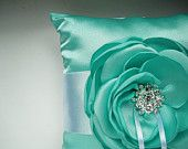 White and Turquise Ring Bearer Pillow  READY TO SHIP