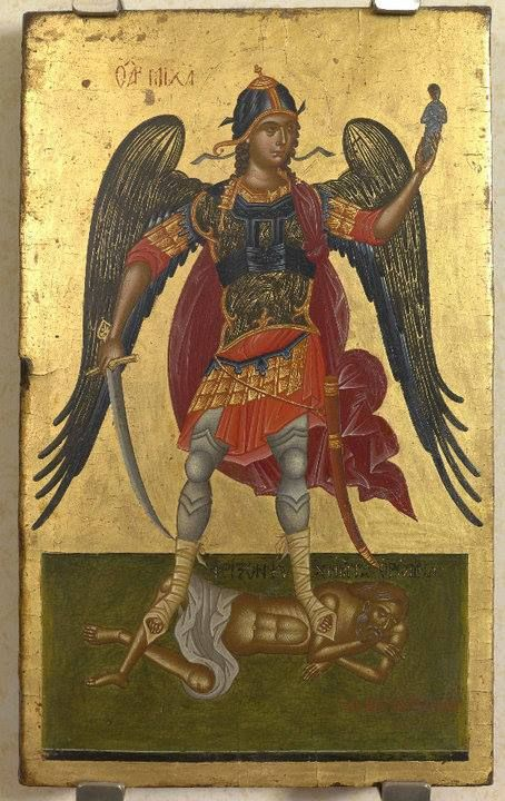 "Archangel Michael by Angelos Akotantos was a 15th-century Icon-painter who lived and worked at Handaca (Heraklion), Crete,Republic of Venice. He was the first hagiographer to sign his name on his icons: ""Χειρ Αγγέλου"" which, translated in English, means ""By hand of Angelos"". He is the most important Greek painter of the first half 15th century when the center of Byzantine art is transferred from Constantinople, to the capital of Crete, as a result of the fall of Constantinople in 1453."