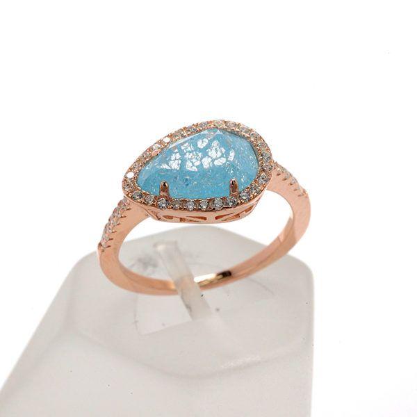 Δαχτυλίδι  ροζ επίχρυσο ασήμι 925  4436
