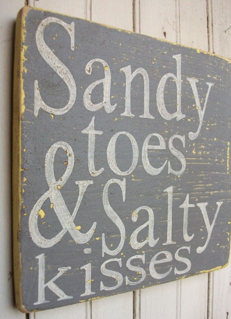 "Sandy Toes & Salty Kisses Distressed Wooden Handpainted 9""x9"" Sign Art, Yellow, Grey, and Vintage White. $30.00, via Etsy."