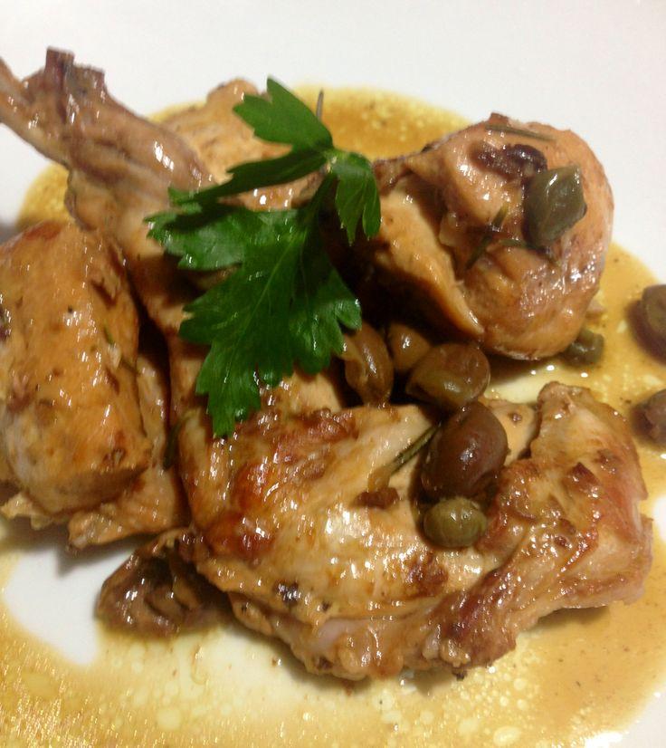 Coniglio con capperi e olive taggiasche