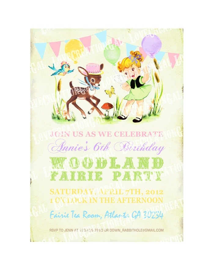 Digital PRINTABLE Vintage Woodland Fairy Girl Deer Bird Celebrate – Fairy Tea Party Invitations