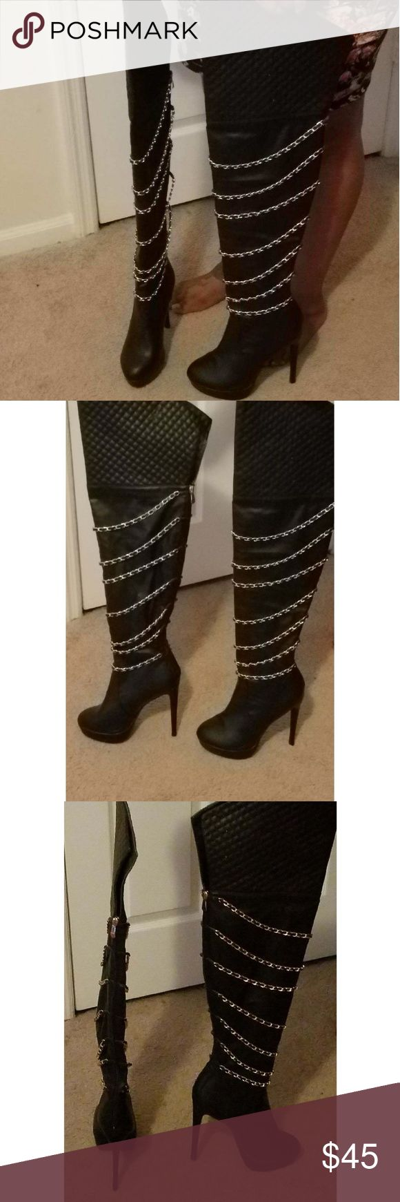 Quilted Top Thigh High Platform Heeled Boots Sexy black thigh high boots heeled boots with gold chain never worn (best for a narrow foot & slim calves) Shoes Over the Knee Boots