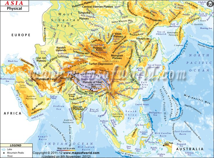 Central Asia Physical Ural Map Mountains