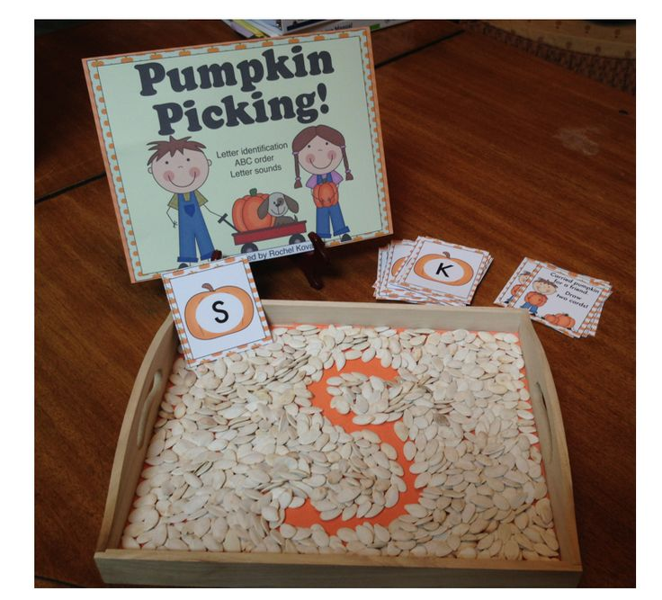 Phonics play, letter recognition - Here's a fun pumpkin themed fall activity to help your class with letter and sound recognition! Use  with pumpkin seeds!