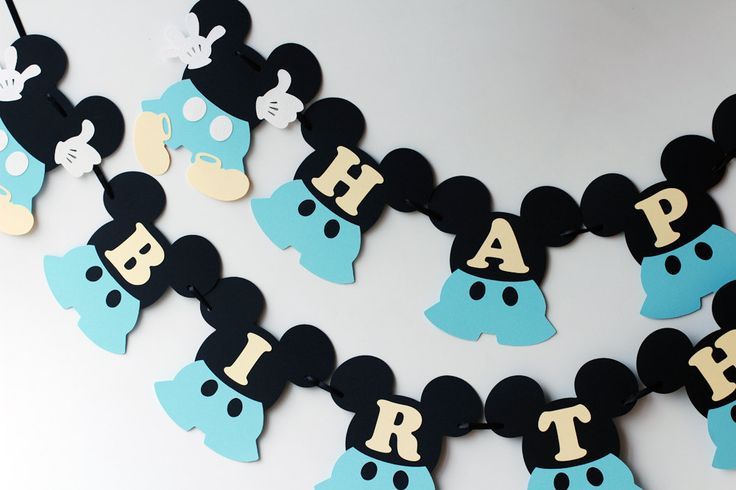 1st birthday Mickey Mouse birthday banner Baby Mickey Mouse party decorations…