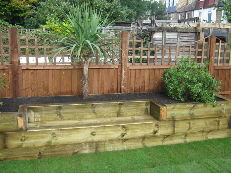 13 best images about timber retaining walls and steps on for Sleeper garden bed designs