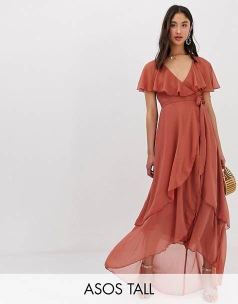 4c5f7126b88 ASOS DESIGN Tall maxi dress with cape back and dip hem ...