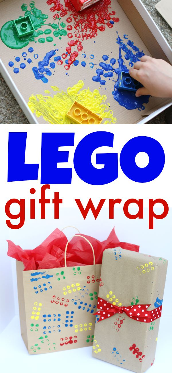 Such a fun way to personalize a birthday present using this LEGO-stamped gift wrap!
