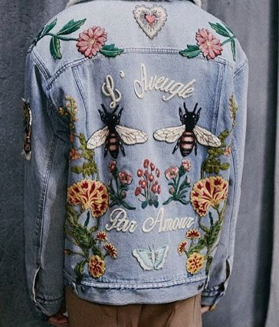 Embroidered denim to remind us of our childhoods spent donning patchwork and jelly shoes. @thecoveteur