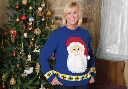 Create this Christmas Adult's Santa Sweater with Patons' yarn