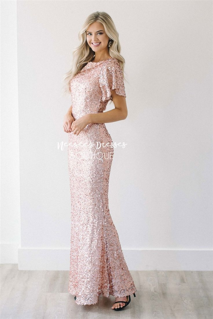 The Aurora Rose Gold Sequin Gown