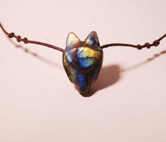 Wolf Necklace Labradorite Necklace Very Special by shamanstones