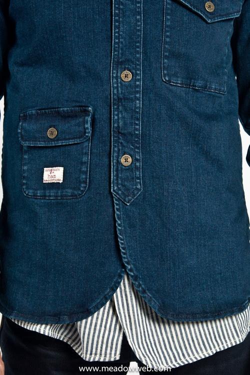 Han Kjobenhavn Army Shirt Worn Out Blue