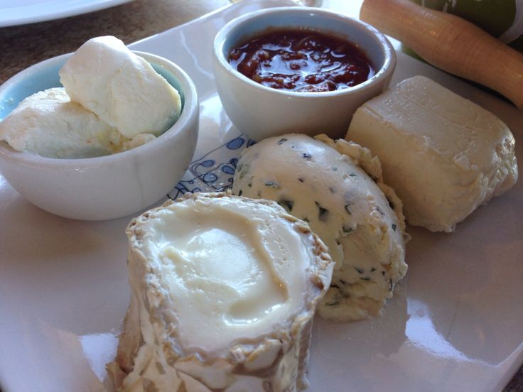Platter of goat cheese from Yarra Valley Dairy