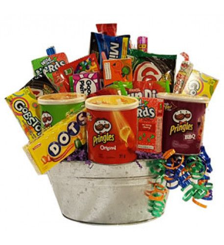 Bucket Fun Goodies Fun and festive treats for the true candy lovers in us all!  Thistruly over the top candy basket includes lots of candy thatboth young and old will enjoy!  Gift includes, 1 box of Good and Plenty, 1 roll of Necco Wafers, 1 package of Skittles, 2 boxes of Wonka Everlasting Gobstoppers,Starburst Fruit chews,  1 box of Mike & Ike, 1 roll of Bottlecaps, 3 pak of FunDip, 1 box of Dots,Laffy Taffy, 2 boxes of Nerds, 1 box of Runts1 roll of Sweet Tarts,  3 snack paks of Original…