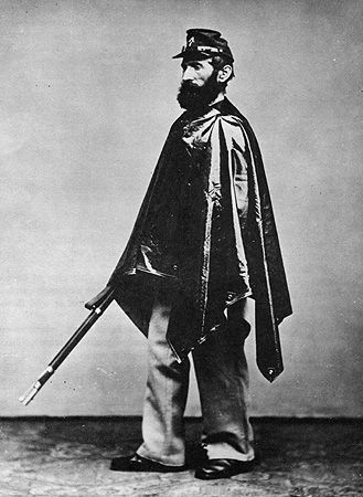 Union soldier posing with a poncho. Many were made by Goodyear which had patented the process of vulcanizing rubber in the 1850's Vulcanizing rubber made it resistant to water while at the same time avoiding becoming brittle.: War History, Rare History, 1850 S Vulcan, War Brother, Civil War, War Era, Union Soldiers, Soldiers Poses, 1850S