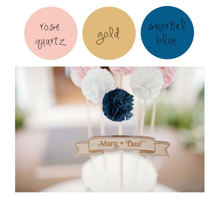 Rose Quartz + Gold + Snorkel Blue /// Our Favorite Spring Wedding Color Palettes -  Image Credit: Style Me Pretty