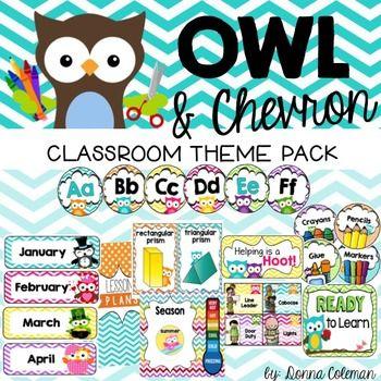 Owl Classroom Decor Theme Pack - Owl and Chevron {Editable}