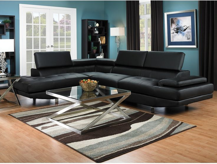 Zane 2-Piece Sectional w/Left-Facing Chaise - Black | The Brick : sectionals the brick - Sectionals, Sofas & Couches