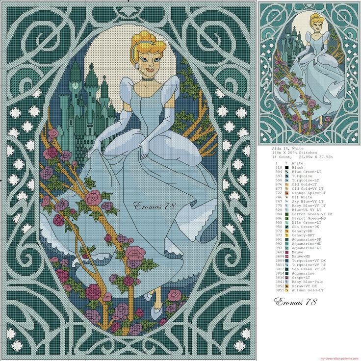 Borduurpatroon: Disney Allerlei *Cross Stitch Pattern Disney Various ~Prinses Assepoester *Cinderella~