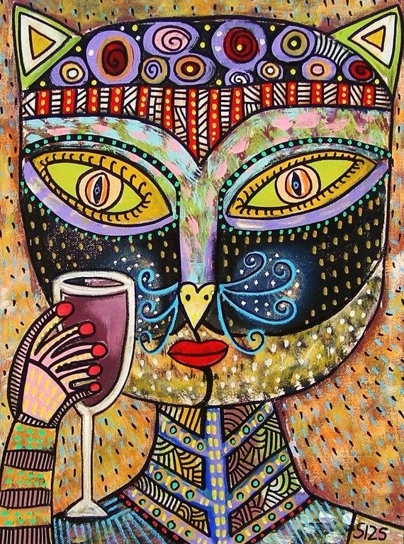 Black Cat Goddess Drinking Red Wine  by SandraSilberzweigArt, $16.00
