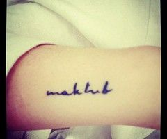 "maktub ""it is written"" in Arabic."